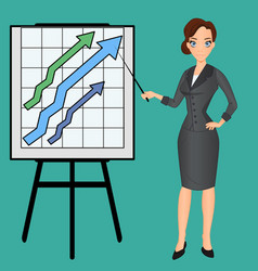 Cartoon business woman pointing rising trends vector