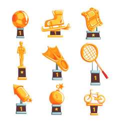 Cartoon golden trophy cups awards and vector