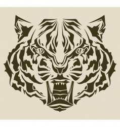 angry tiger silhouette vector image