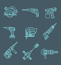 Light outline house remodel power tools icons on vector