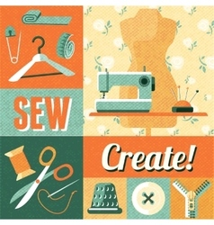Sewing vintage decoration collage poster vector