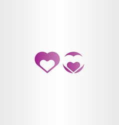 Purple heart icon element vector