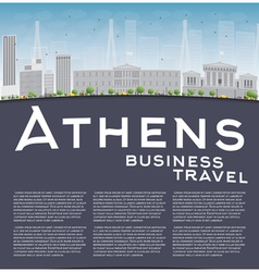 Athens skyline with grey building vector