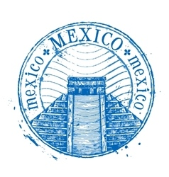 Mexico logo design template shabby stamp vector