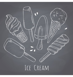 Set of hand drawn different ice cream food design vector