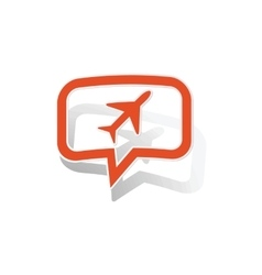 Plane message sticker orange vector