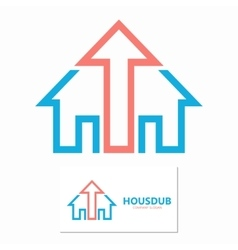 House and up arrow logo template vector
