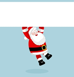 Santa claus hanging on the empty blank vector