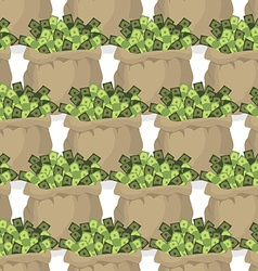 Bag with money seamless pattern many dollars in vector
