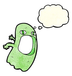 Funny cartoon ghost with thought bubble vector