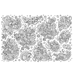 Sketchy hand drawn doodles cartoon set of vector