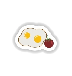 Stylish paper sticker fried eggs with tomatoes vector
