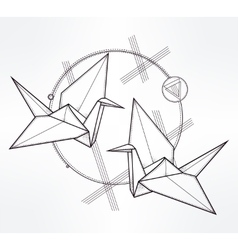 Stylized paper crane birds vector