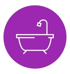 Bathtub with shower line icon vector