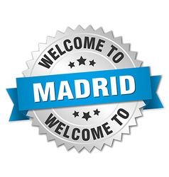 Madrid 3d silver badge with blue ribbon vector