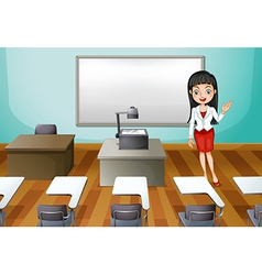 A room with a lady professor vector image vector image