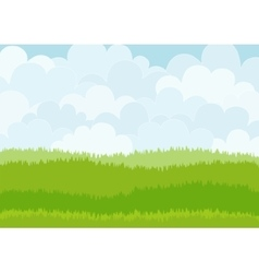 Beautiful simple cartoon meadow on sky background vector