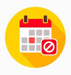 Block calendar remove stop icon vector