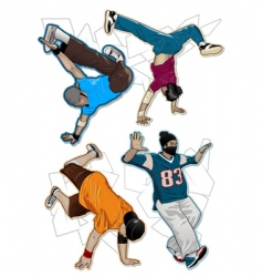 break-dancers set vector image