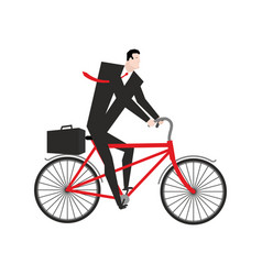 Businessman cycling boss is on bicycle business vector