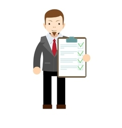 Businessman holding business contract and vector