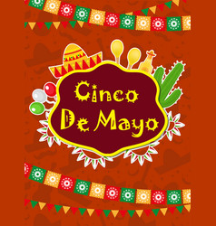 cinco de mayo greeting card template for flyer vector image vector image