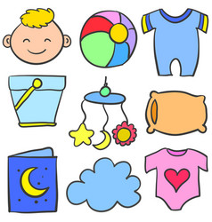 Doodle of object baby various set vector