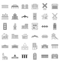 Factory icons set outline style vector
