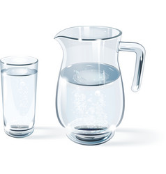 Glass of water and glass jug vector