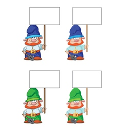gnome with blank sign vector image