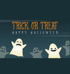 halloween background card with funny ghost vector image
