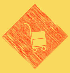Hand truck sign red scribble icon vector