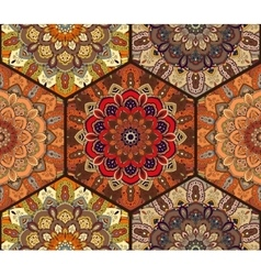 Honey comb hex pattern from flower mandala brown vector