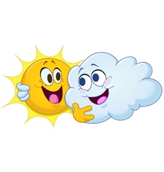 hugging sun and cloud vector image vector image