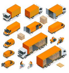 Isometric logistics icons set of different vector