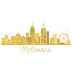 Melbourne australia city skyline golden silhouette vector