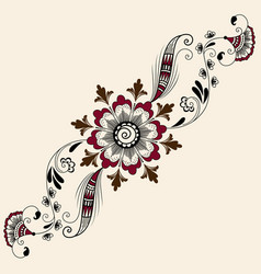 Of mehndi ornament traditional vector