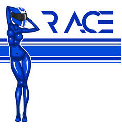 Rally race banner with girl vector