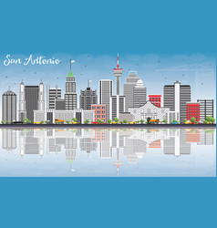 san antonio skyline with gray buildings blue sky vector image