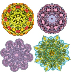 Set of 4 colorful round ornaments kaleidoscope flo vector image