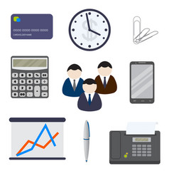 Set of nine business items isolated on a white vector
