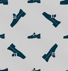 Shoe icon sign Seamless pattern with geometric vector image