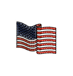 United states flag waving in colored crayon vector
