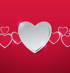 Valentines Day Hearts cut out from Paper vector image
