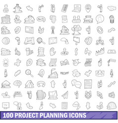 100 project planning icons set outline style vector image vector image