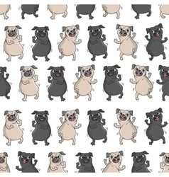Dancing pugs seamless pattern vector