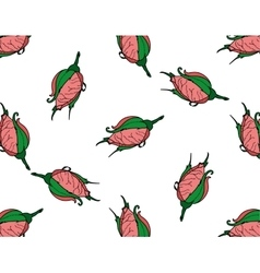 Rosebuds seamless background pattern hand drawn vector