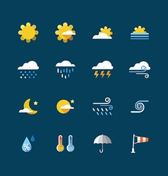 Weather colour icons set Flat design vector image