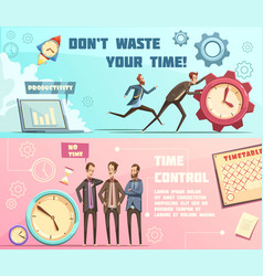 Time management retro cartoon banners vector