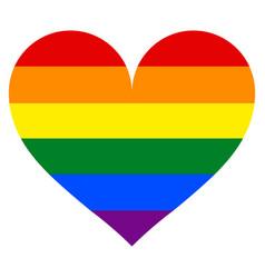 rainbow flag in heart shape vector image